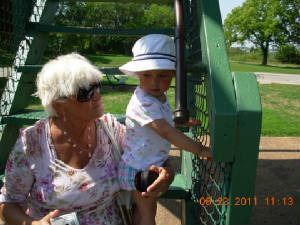 Climbing the stairs with grandma