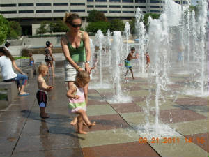 Enjoying the water fountain at Crown Center