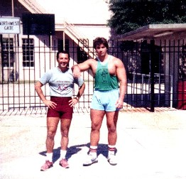 Randy Barnes and me at Texas A&M old weight room before practice October 1985